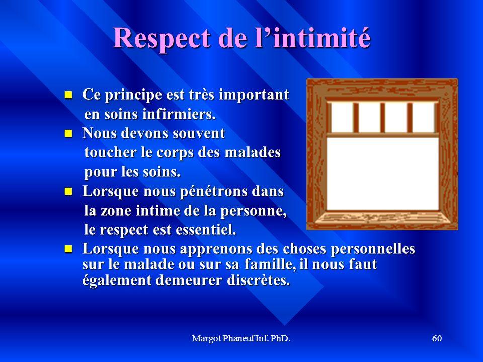 Margot Phaneuf Inf. PhD.60 Respect de lintimité Ce Ce principe est très important en soins infirmiers. Nous Nous devons souvent toucher le corps des m
