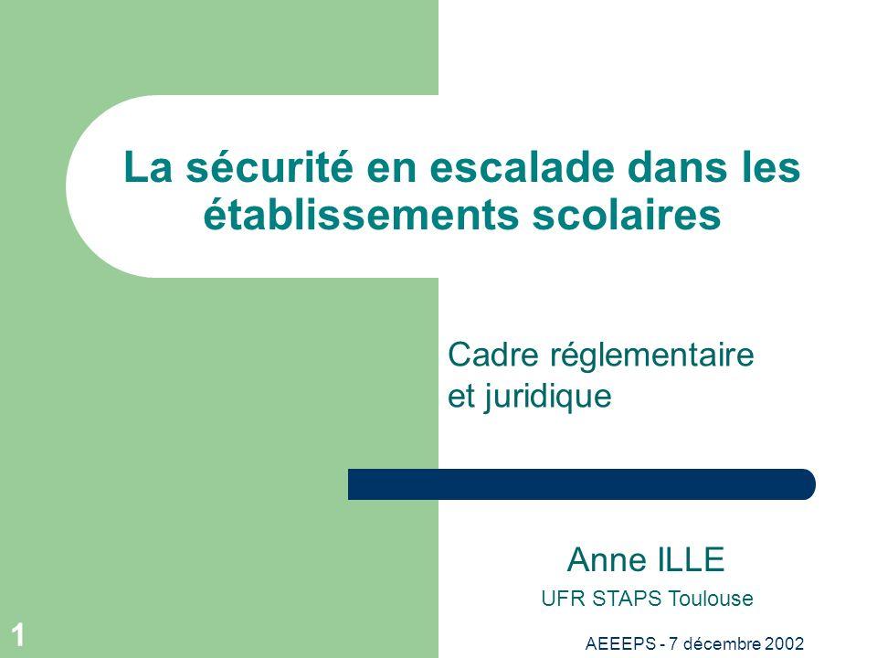 AEEEPS - 7 décembre 2002 1 La sécurité en escalade dans les établissements scolaires Anne ILLE UFR STAPS Toulouse Cadre réglementaire et juridique