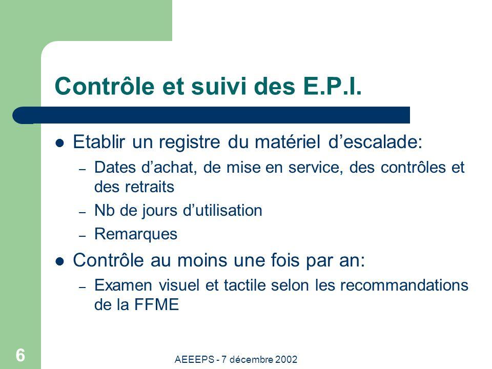 AEEEPS - 7 décembre 2002 6 Contrôle et suivi des E.P.I.