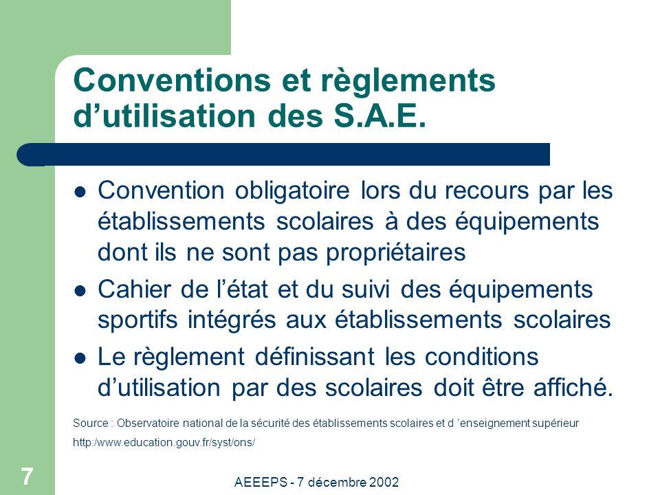 AEEEPS - 7 décembre 2002 7 Conventions et règlements dutilisation des S.A.E.