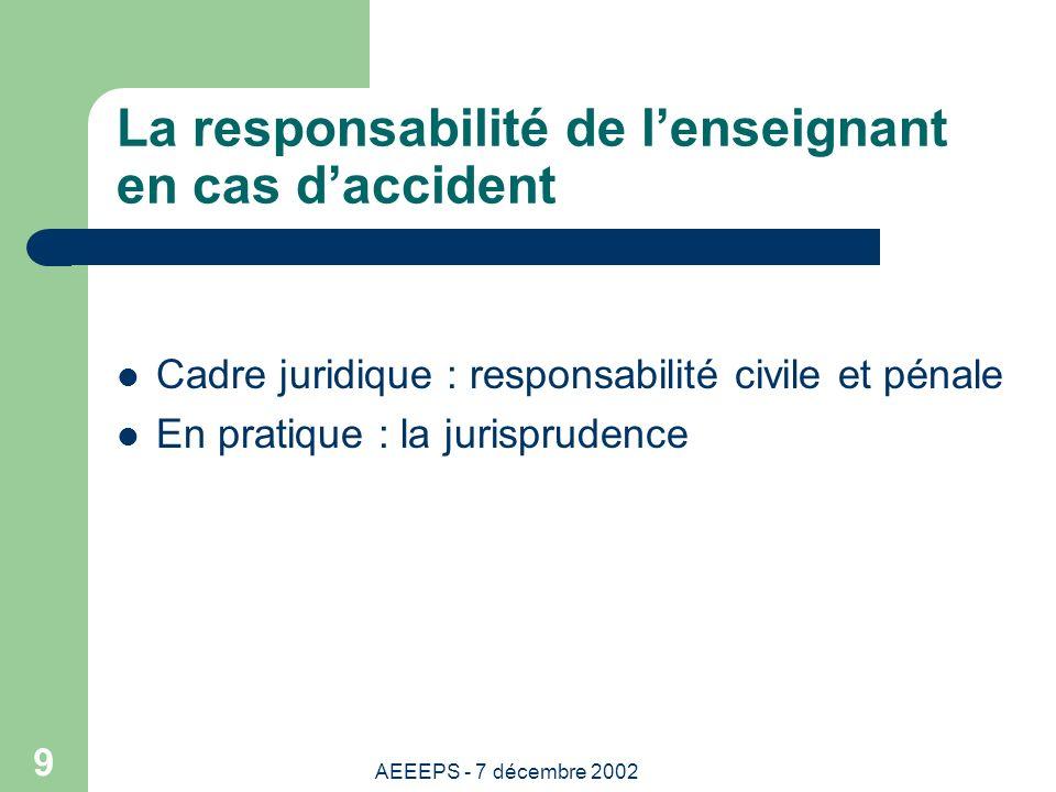AEEEPS - 7 décembre 2002 9 La responsabilité de lenseignant en cas daccident Cadre juridique : responsabilité civile et pénale En pratique : la jurisprudence