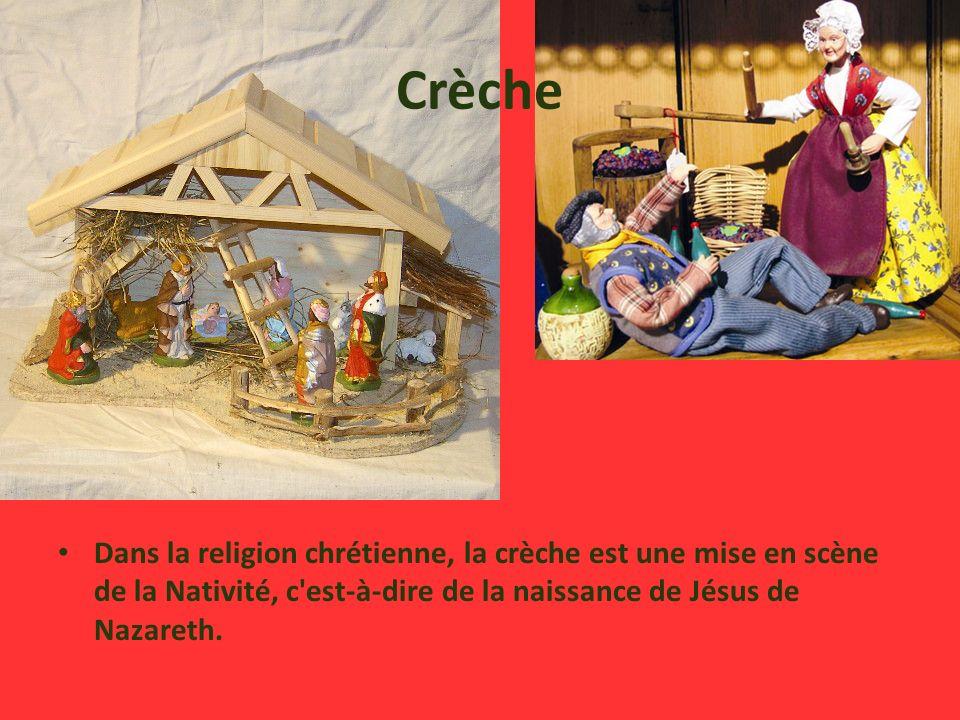 Crèche Dans la religion chrétienne, la crèche est une mise en scène de la Nativité, c est-à-dire de la naissance de Jésus de Nazareth.