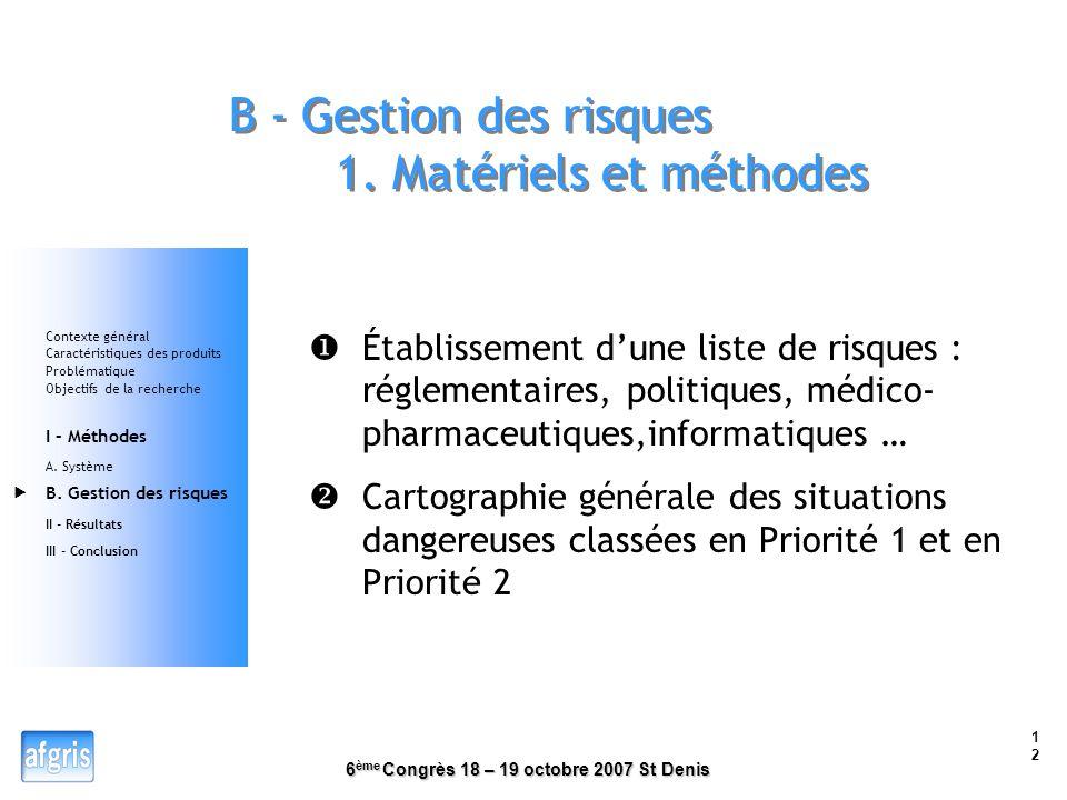 6 ème Congrès 18 – 19 octobre 2007 St Denis 11 4. Analyse fonctionnelle du système Contexte général Caractéristiques des produits Problématique Object