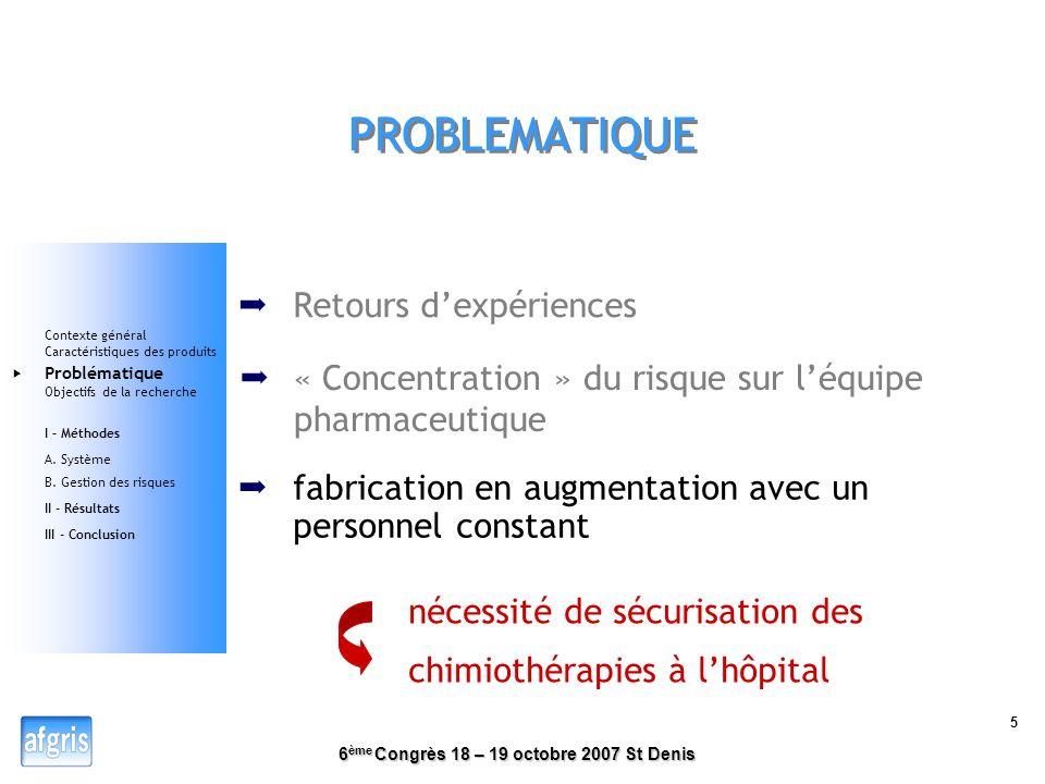 6 ème Congrès 18 – 19 octobre 2007 St Denis 4 CARACTERISTIQUES DES « PRODUITS » Médicaments stériles, toxiques, nominatifs (dose adaptée aux caractéri