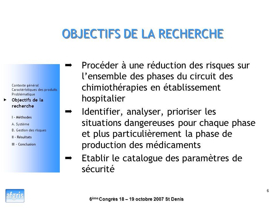 6 ème Congrès 18 – 19 octobre 2007 St Denis 5 PROBLEMATIQUE fabrication en augmentation avec un personnel constant Retours dexpériences « Concentratio