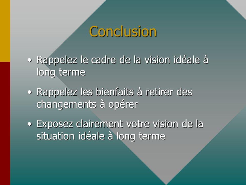 Conclusion Rappelez le cadre de la vision idéale à long termeRappelez le cadre de la vision idéale à long terme Rappelez les bienfaits à retirer des changements à opérerRappelez les bienfaits à retirer des changements à opérer Exposez clairement votre vision de la situation idéale à long termeExposez clairement votre vision de la situation idéale à long terme