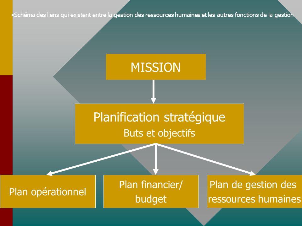 Schéma des liens qui existent entre la gestion des ressources humaines et les autres fonctions de la gestion MISSION Planification stratégique Buts et objectifs Plan opérationnel Plan financier/ budget Plan de gestion des ressources humaines