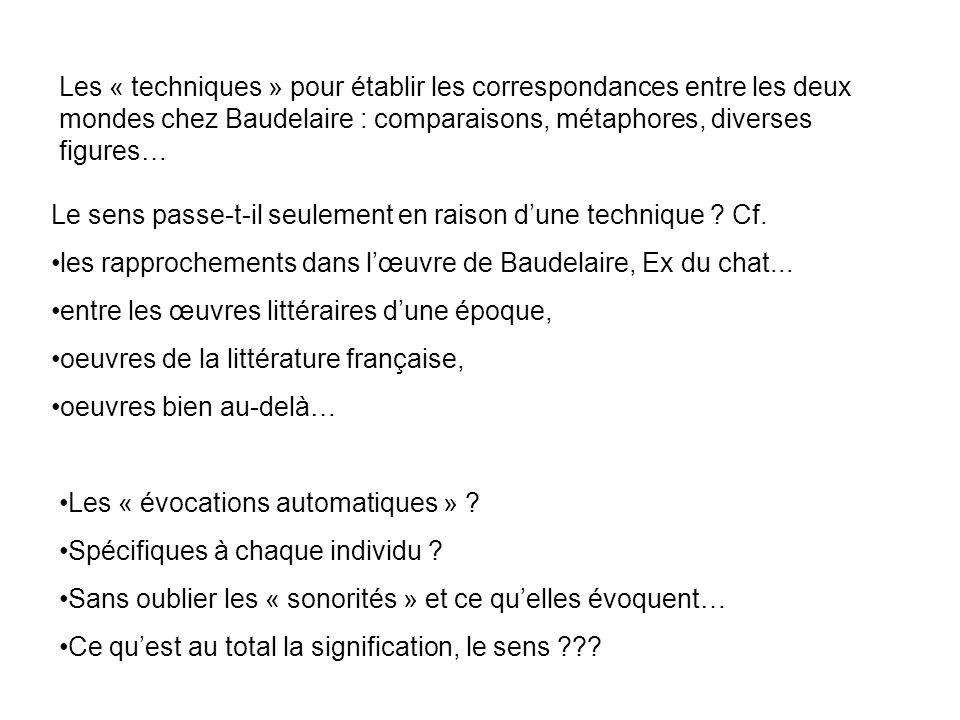 Les « techniques » pour établir les correspondances entre les deux mondes chez Baudelaire : comparaisons, métaphores, diverses figures… Le sens passe-