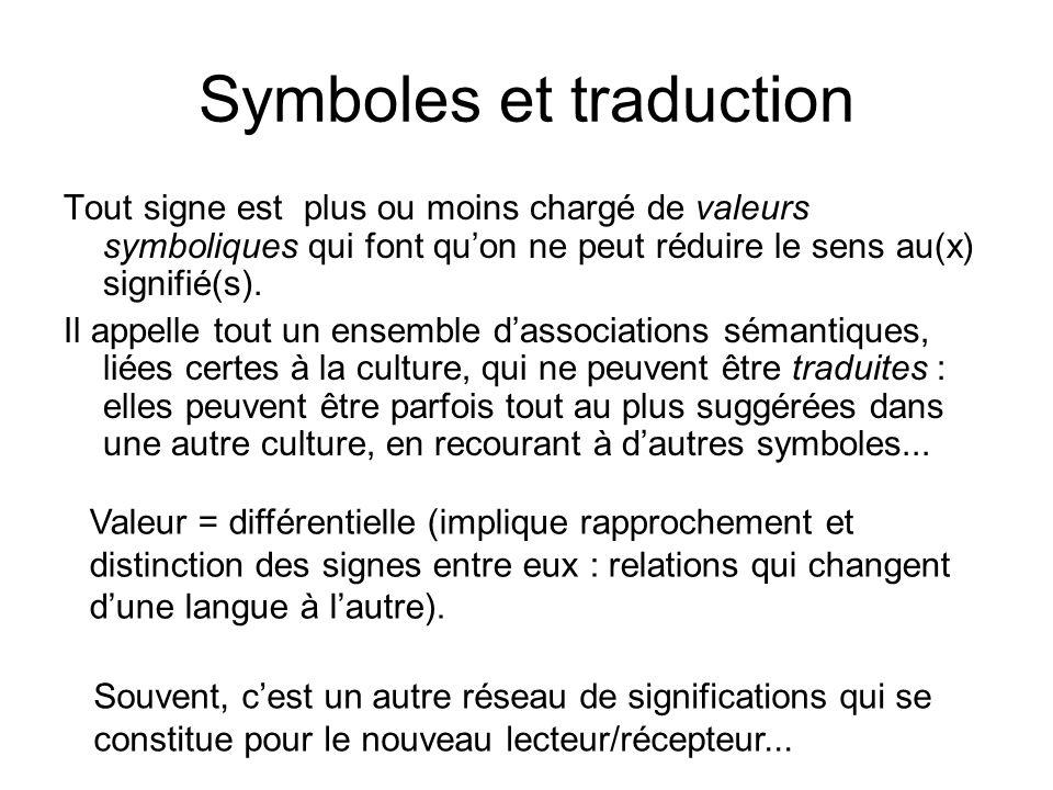 Symboles et traduction Tout signe est plus ou moins chargé de valeurs symboliques qui font quon ne peut réduire le sens au(x) signifié(s). Il appelle