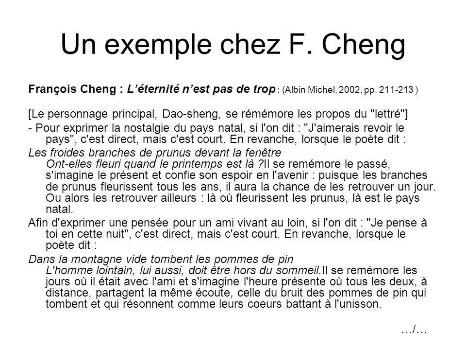 Un exemple chez F. Cheng François Cheng : Léternité nest pas de trop : (Albin Michel, 2002, pp. 211-213 ) [Le personnage principal, Dao-sheng, se rémé