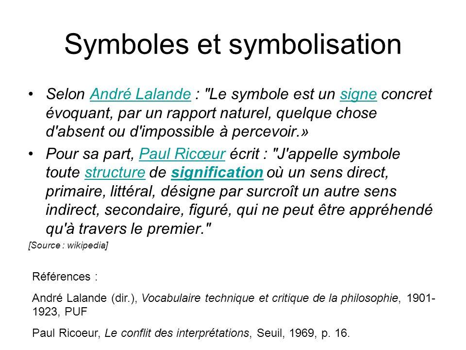 Origine du mot : Le mot « symbole » est issu du grec sumbolon (σύμβολον), qui dérive du verbe sumbalein (symballein) (de syn-, avec, et -ballein, jeter] signifiant « mettre ensemble », « joindre », « comparer », « échanger », « se rencontrer », « expliquer ».
