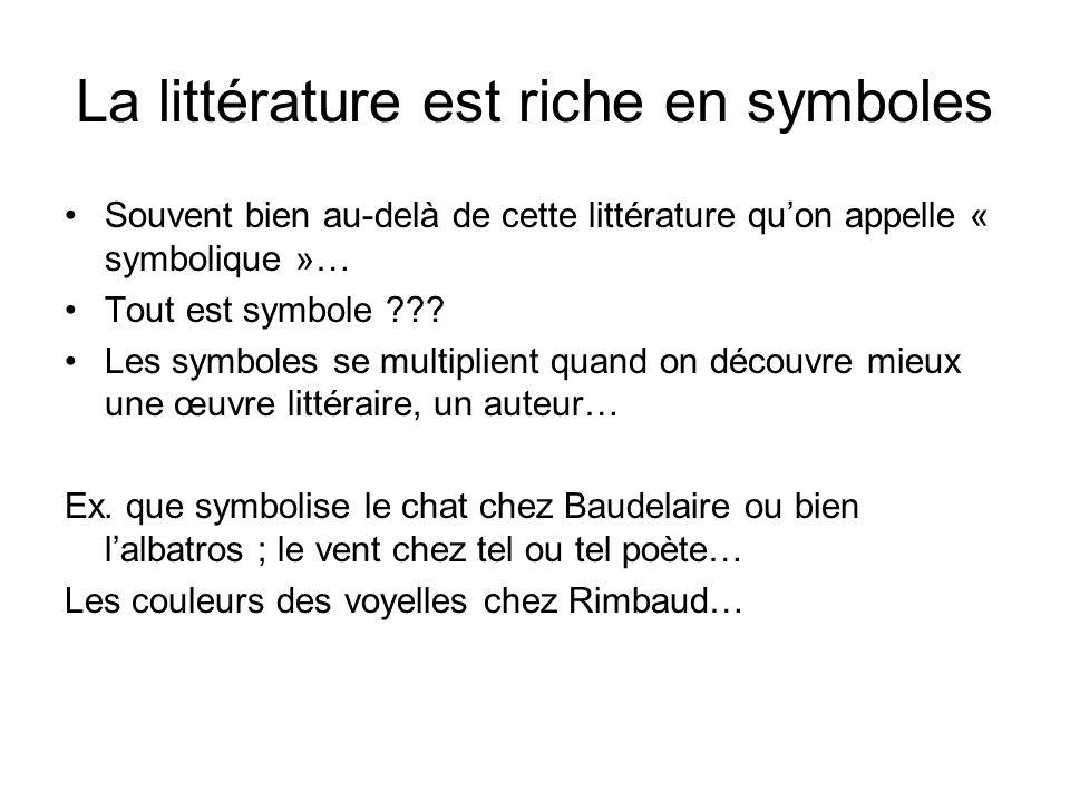 La littérature est riche en symboles Souvent bien au-delà de cette littérature quon appelle « symbolique »… Tout est symbole ??? Les symboles se multi