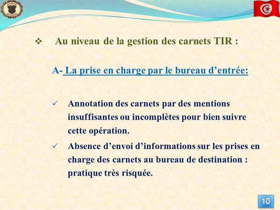Au niveau de la gestion des carnets TIR : A- La prise en charge par le bureau dentrée: Annotation des carnets par des mentions insuffisantes ou incomplètes pour bien suivre cette opération.