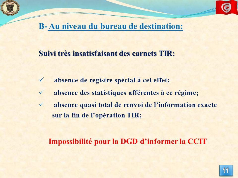 B- Au niveau du bureau de destination: Suivi très insatisfaisant des carnets TIR: absence de registre spécial à cet effet; absence des statistiques afférentes à ce régime; absence quasi total de renvoi de linformation exacte sur la fin de lopération TIR; Impossibilité pour la DGD dinformer la CCIT