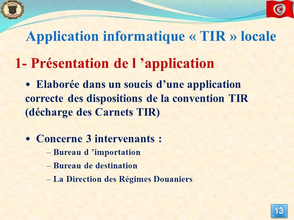 1- Présentation de l application Elaborée dans un soucis dune application correcte des dispositions de la convention TIR (décharge des Carnets TIR) Co