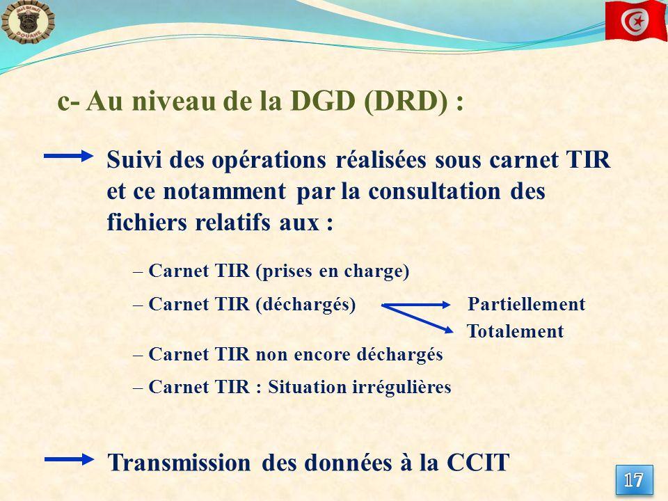 c- Au niveau de la DGD (DRD) : – Carnet TIR (prises en charge) – Carnet TIR (déchargés) Suivi des opérations réalisées sous carnet TIR et ce notamment