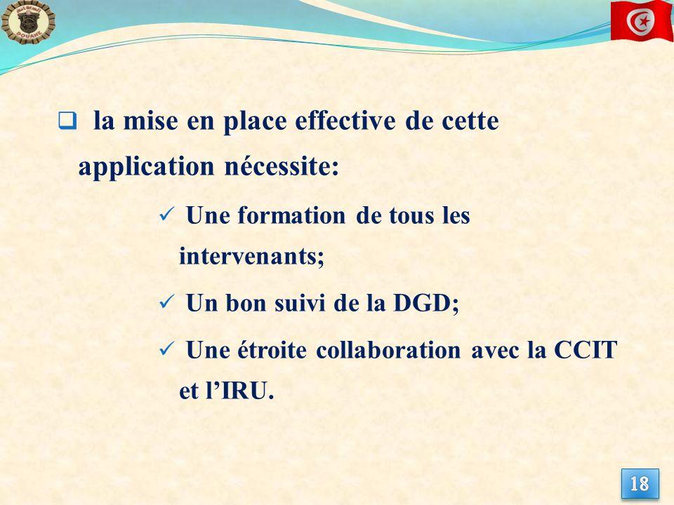la mise en place effective de cette application nécessite: Une formation de tous les intervenants; Un bon suivi de la DGD; Une étroite collaboration avec la CCIT et lIRU.