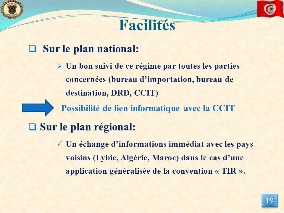 Sur le plan national: Un bon suivi de ce régime par toutes les parties concernées (bureau dimportation, bureau de destination, DRD, CCIT) Sur le plan