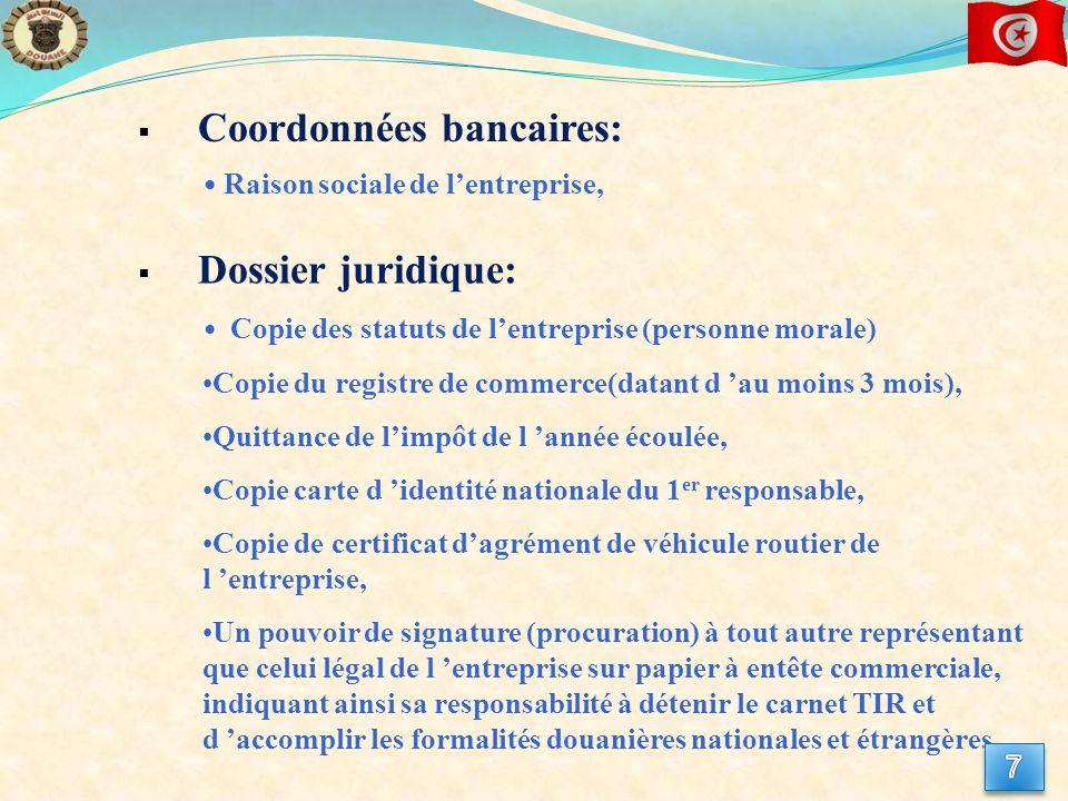 Coordonnées bancaires: Raison sociale de lentreprise, Copie des statuts de lentreprise (personne morale) Copie du registre de commerce(datant d au moi