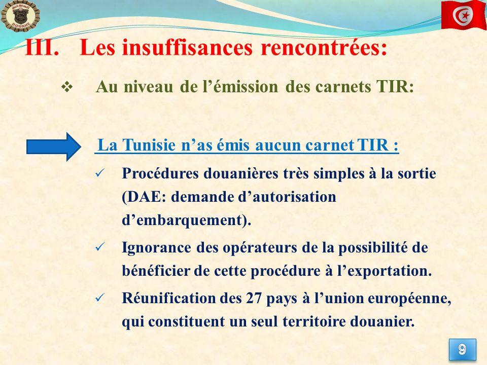 III.Les insuffisances rencontrées: Au niveau de lémission des carnets TIR: La Tunisie nas émis aucun carnet TIR : Procédures douanières très simples à la sortie (DAE: demande dautorisation dembarquement).