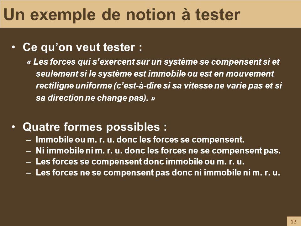 13 Un exemple de notion à tester Ce quon veut tester : « Les forces qui sexercent sur un système se compensent si et seulement si le système est immob