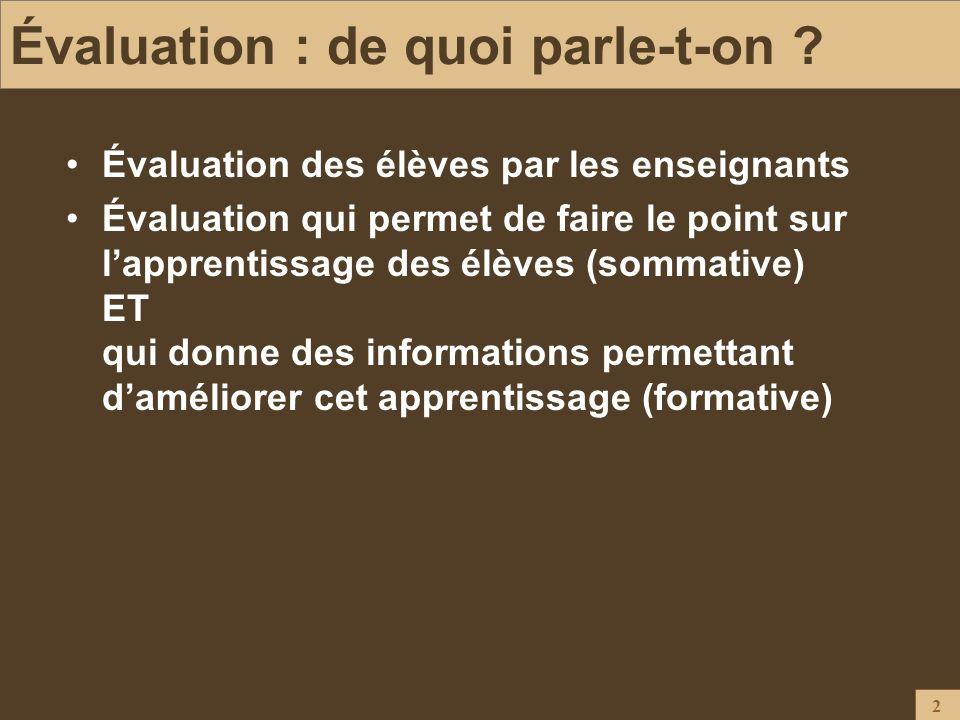2 Évaluation : de quoi parle-t-on ? Évaluation des élèves par les enseignants Évaluation qui permet de faire le point sur lapprentissage des élèves (s