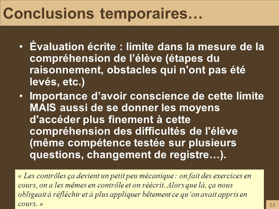23 Conclusions temporaires… Évaluation écrite : limite dans la mesure de la compréhension de lélève (étapes du raisonnement, obstacles qui n'ont pas é