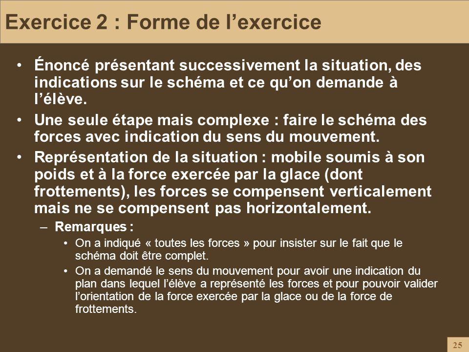 25 Exercice 2 : Forme de lexercice Énoncé présentant successivement la situation, des indications sur le schéma et ce quon demande à lélève. Une seule
