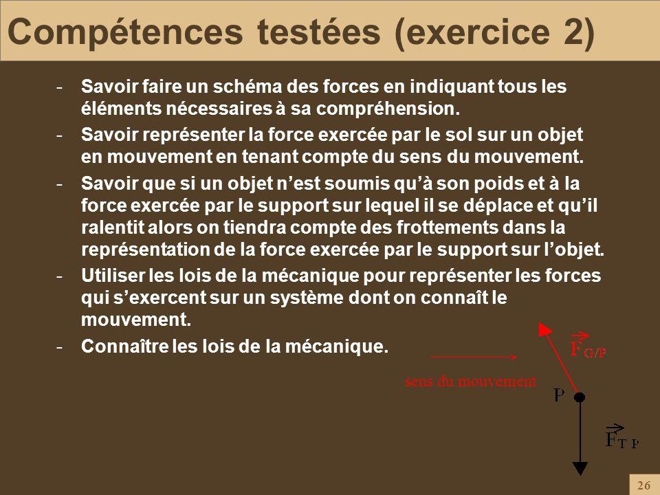 26 Compétences testées (exercice 2) -Savoir faire un schéma des forces en indiquant tous les éléments nécessaires à sa compréhension. -Savoir représen