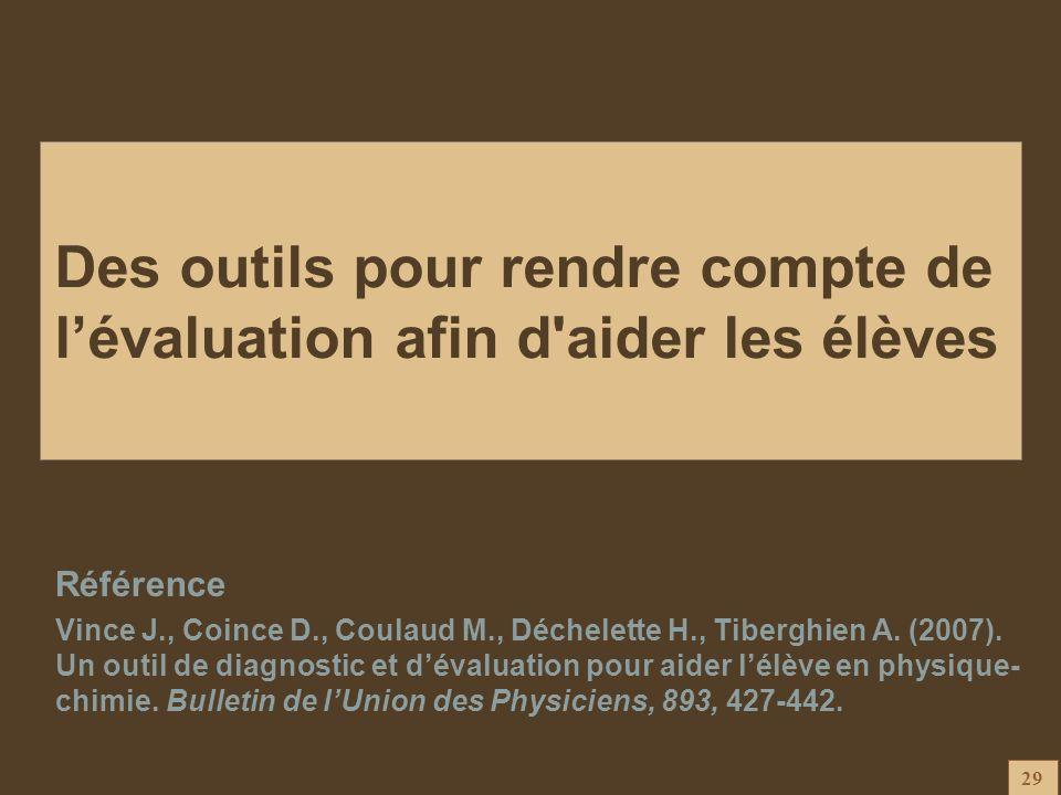 29 Des outils pour rendre compte de lévaluation afin d'aider les élèves Référence Vince J., Coince D., Coulaud M., Déchelette H., Tiberghien A. (2007)