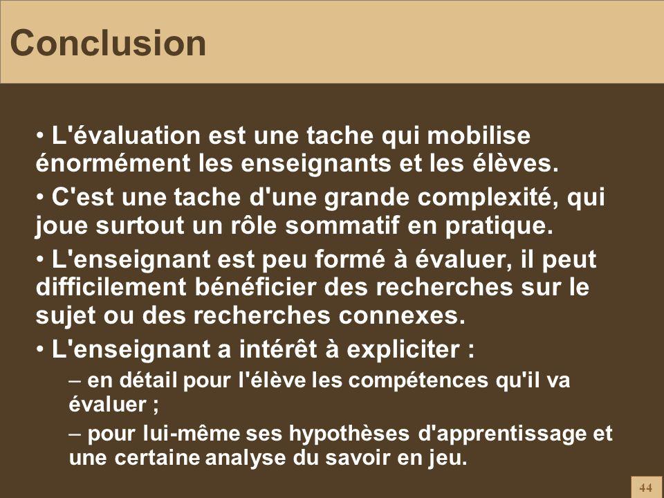 44 Conclusion L'évaluation est une tache qui mobilise énormément les enseignants et les élèves. C'est une tache d'une grande complexité, qui joue surt