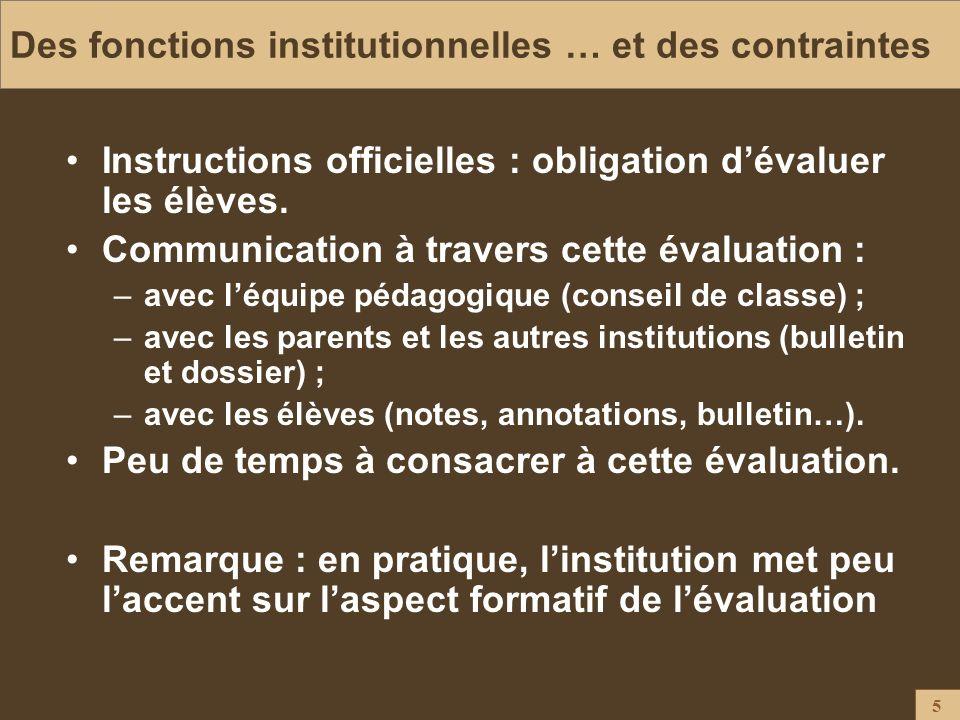 5 Des fonctions institutionnelles … et des contraintes Instructions officielles : obligation dévaluer les élèves. Communication à travers cette évalua