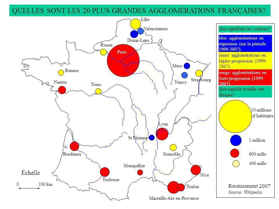 Recensement 2007 Source: Wikipedia QUELLES SONT LES 20 PLUS GRANDES AGGLOMÉRATIONS FRANÇAISES?