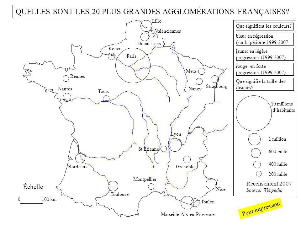 10 millions dhabitants 1 million 200 mille 400 mille 600 mille 0 100 km Échelle Recensement 2007 Source: Wikipedia bleu: population en régression (sur la période 1999-2007).