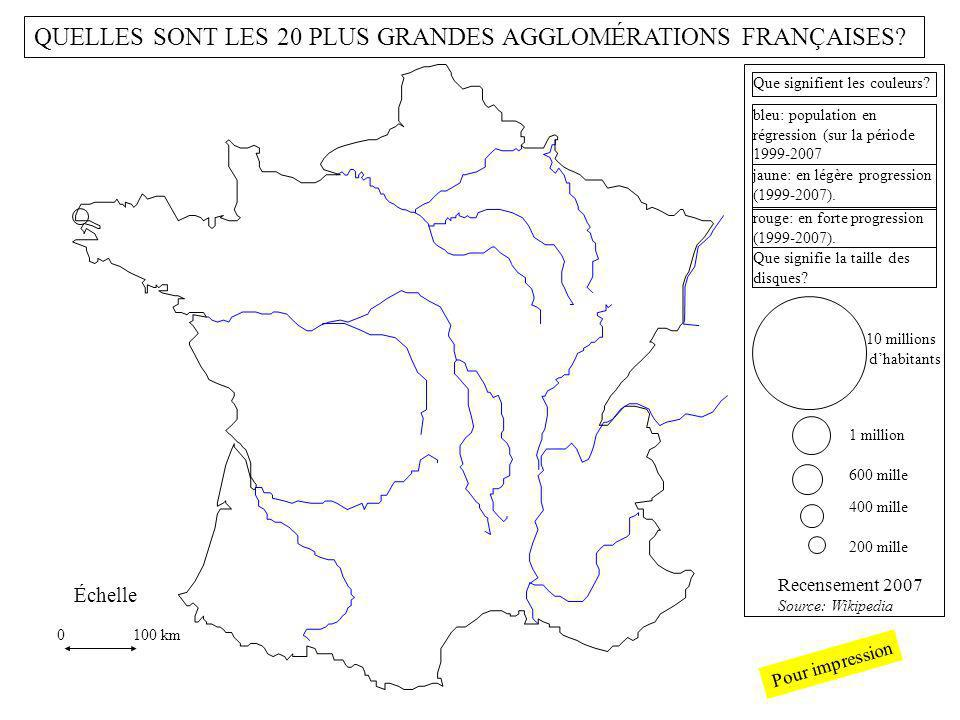 10 millions dhabitants 1 million 200 mille 400 mille 600 mille 0 100 km Échelle Recensement 2007 Source: Wikipedia bleu: population en régression (sur