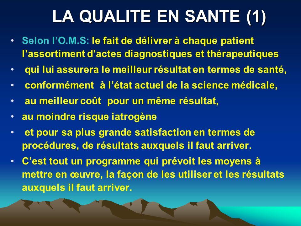 LA QUALITE EN SANTE (1) Selon lO.M.S: le fait de délivrer à chaque patient lassortiment dactes diagnostiques et thérapeutiques qui lui assurera le mei