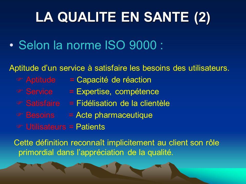 LA QUALITE EN SANTE (2) Selon la norme ISO 9000 : Aptitude dun service à satisfaire les besoins des utilisateurs. Aptitude = Capacité de réaction Serv
