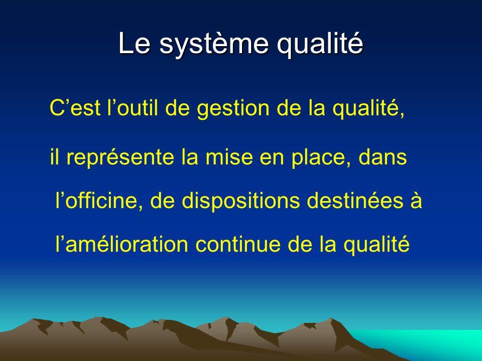 Le système qualité Cest loutil de gestion de la qualité, il représente la mise en place, dans lofficine, de dispositions destinées à lamélioration con