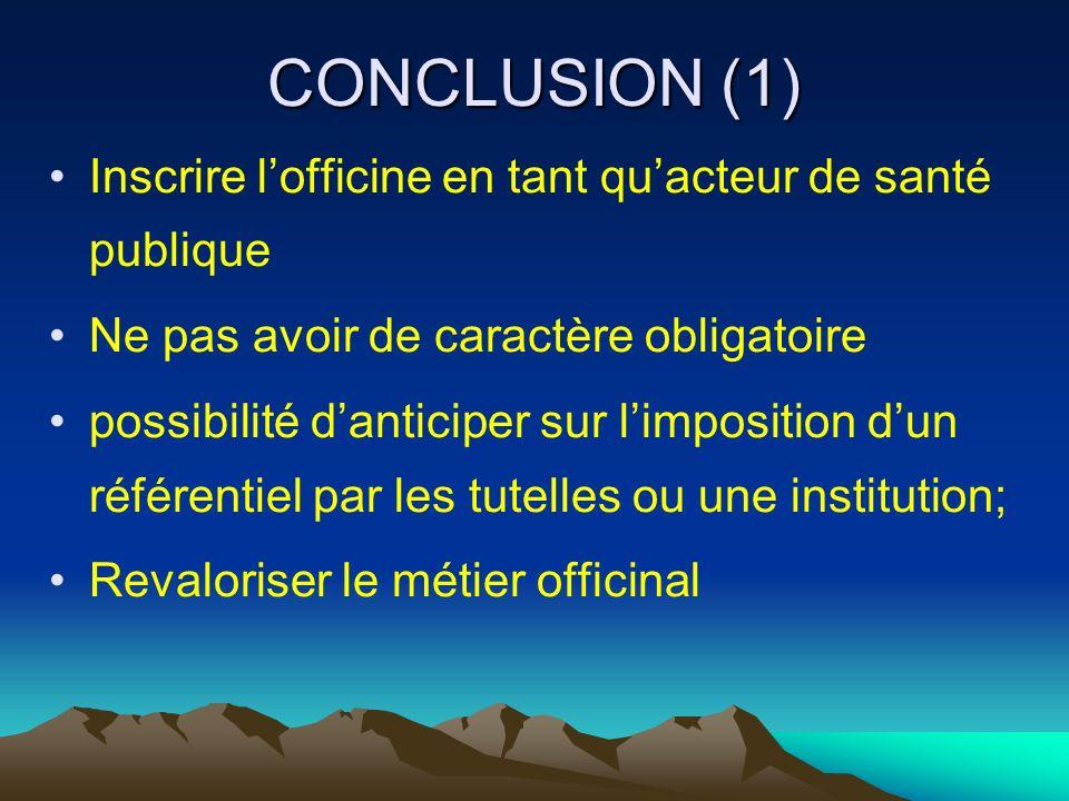 CONCLUSION (1) Inscrire lofficine en tant quacteur de santé publique Ne pas avoir de caractère obligatoire possibilité danticiper sur limposition dun