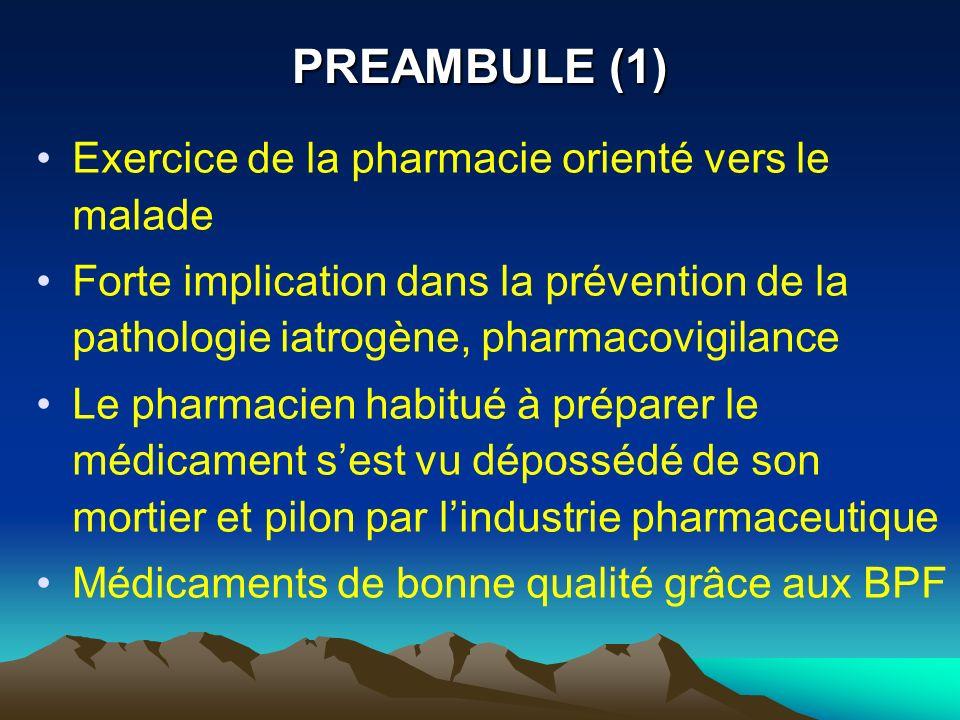 PREAMBULE (1) Exercice de la pharmacie orienté vers le malade Forte implication dans la prévention de la pathologie iatrogène, pharmacovigilance Le ph