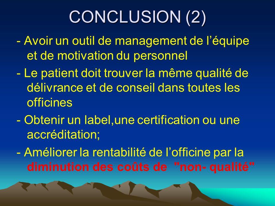 CONCLUSION (2) - Avoir un outil de management de léquipe et de motivation du personnel - Le patient doit trouver la même qualité de délivrance et de c