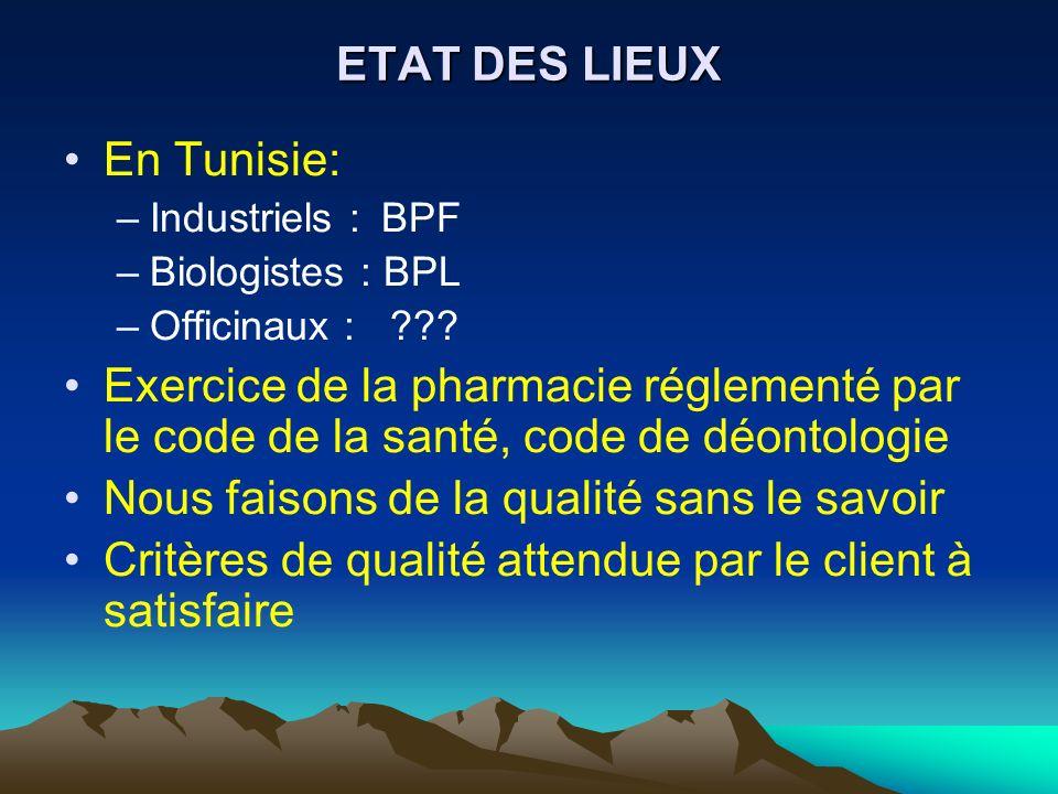 ETAT DES LIEUX En Tunisie: –Industriels :BPF –Biologistes : BPL –Officinaux : ??? Exercice de la pharmacie réglementé par le code de la santé, code de