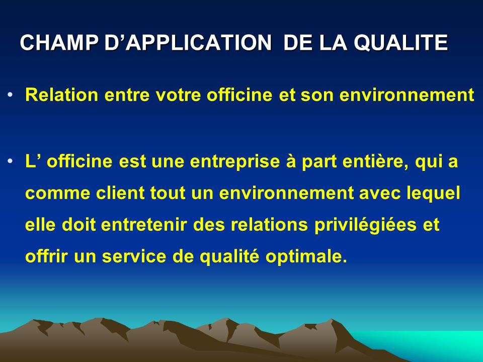 CHAMP DAPPLICATION DE LA QUALITE Relation entre votre officine et son environnement L officine est une entreprise à part entière, qui a comme client t