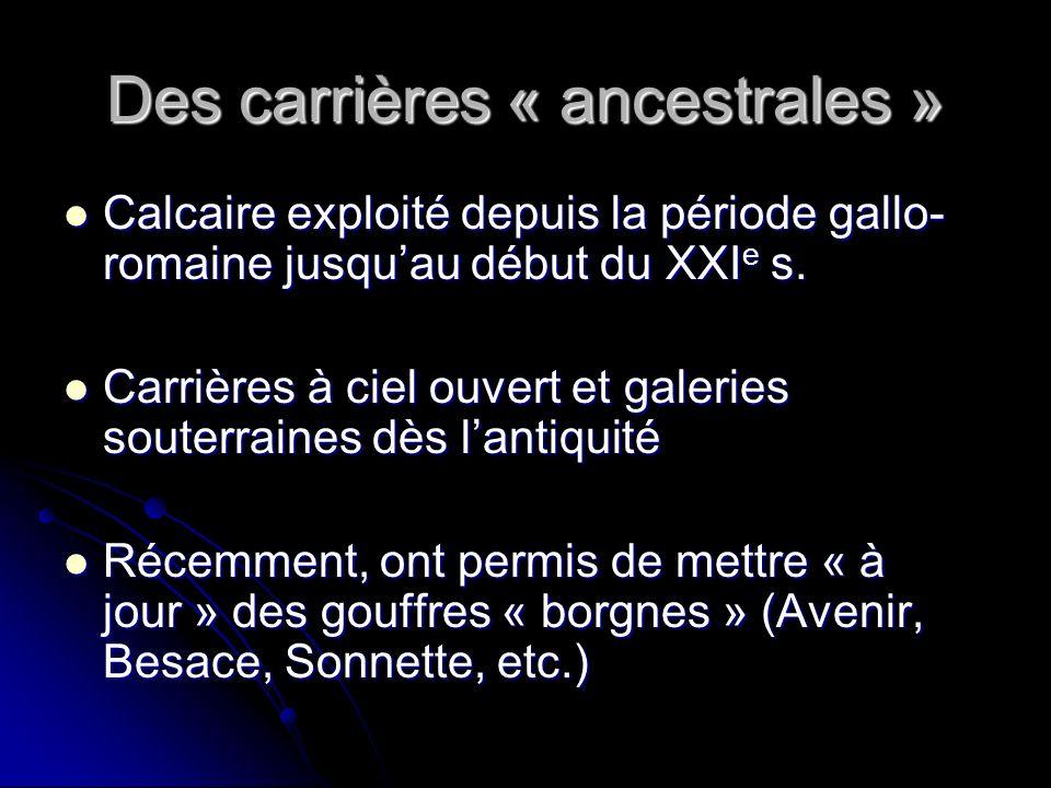Des carrières « ancestrales » Calcaire exploité depuis la période gallo- romaine jusquau début du XXI e s. Calcaire exploité depuis la période gallo-
