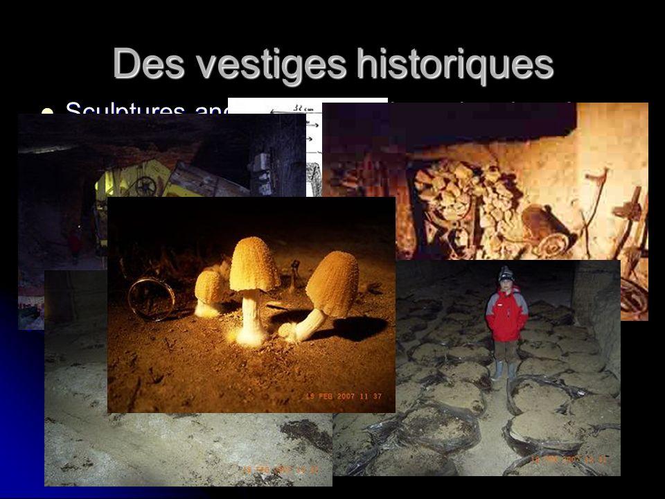 Des vestiges historiques Sculptures anciennes, machines abandonnées, traces dexploitation, etc. Sculptures anciennes, machines abandonnées, traces dex