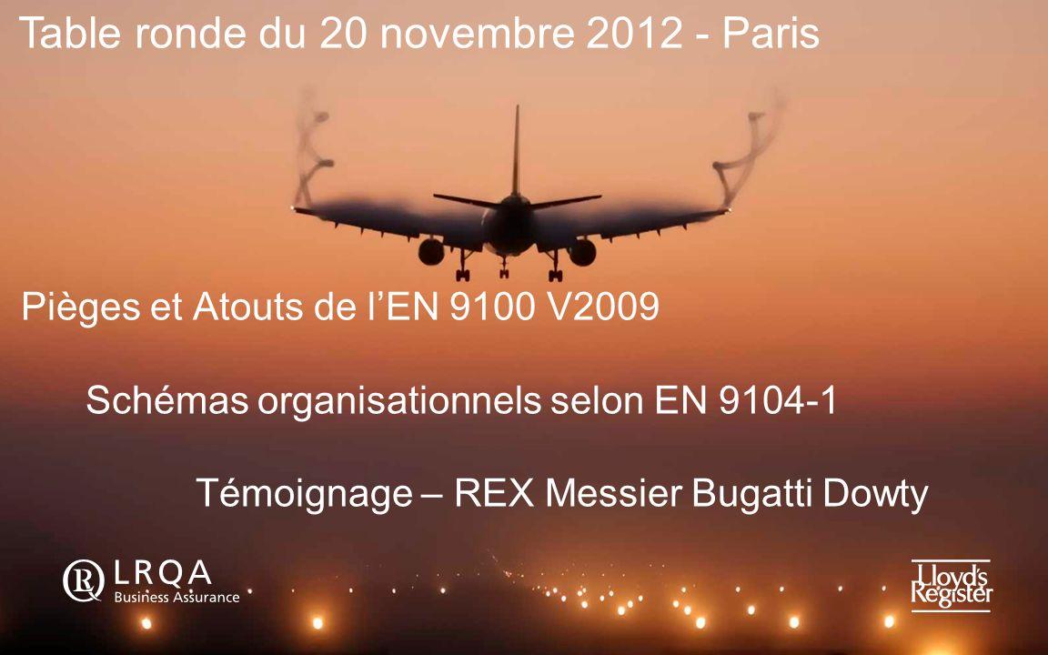 Pièges et Atouts de lEN 9100 V2009 Schémas organisationnels selon EN 9104-1 Témoignage – REX Messier Bugatti Dowty Table ronde du 20 novembre 2012 - P