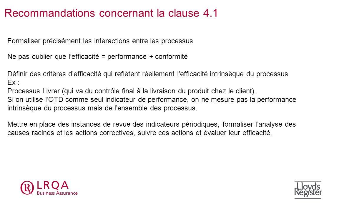 Recommandations concernant la clause 4.1 Formaliser précisément les interactions entre les processus Définir des critères defficacité qui reflètent ré