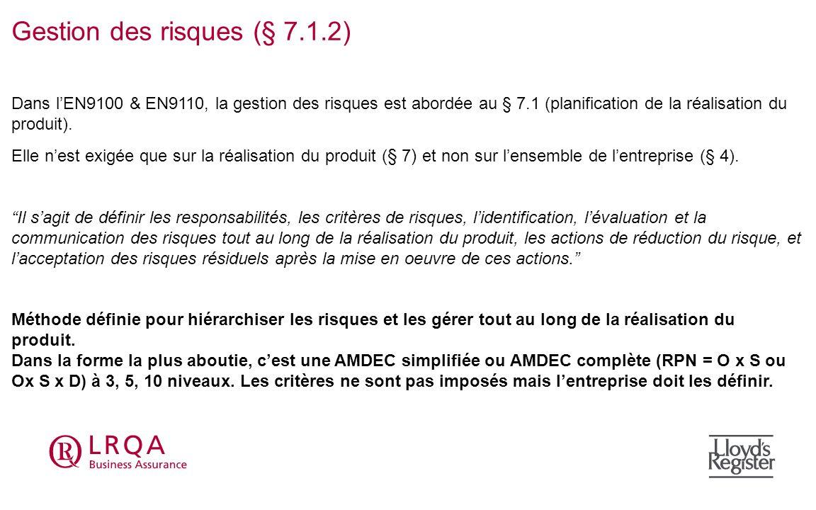 Gestion des risques (§ 7.1.2) Dans lEN9100 & EN9110, la gestion des risques est abordée au § 7.1 (planification de la réalisation du produit). Elle ne