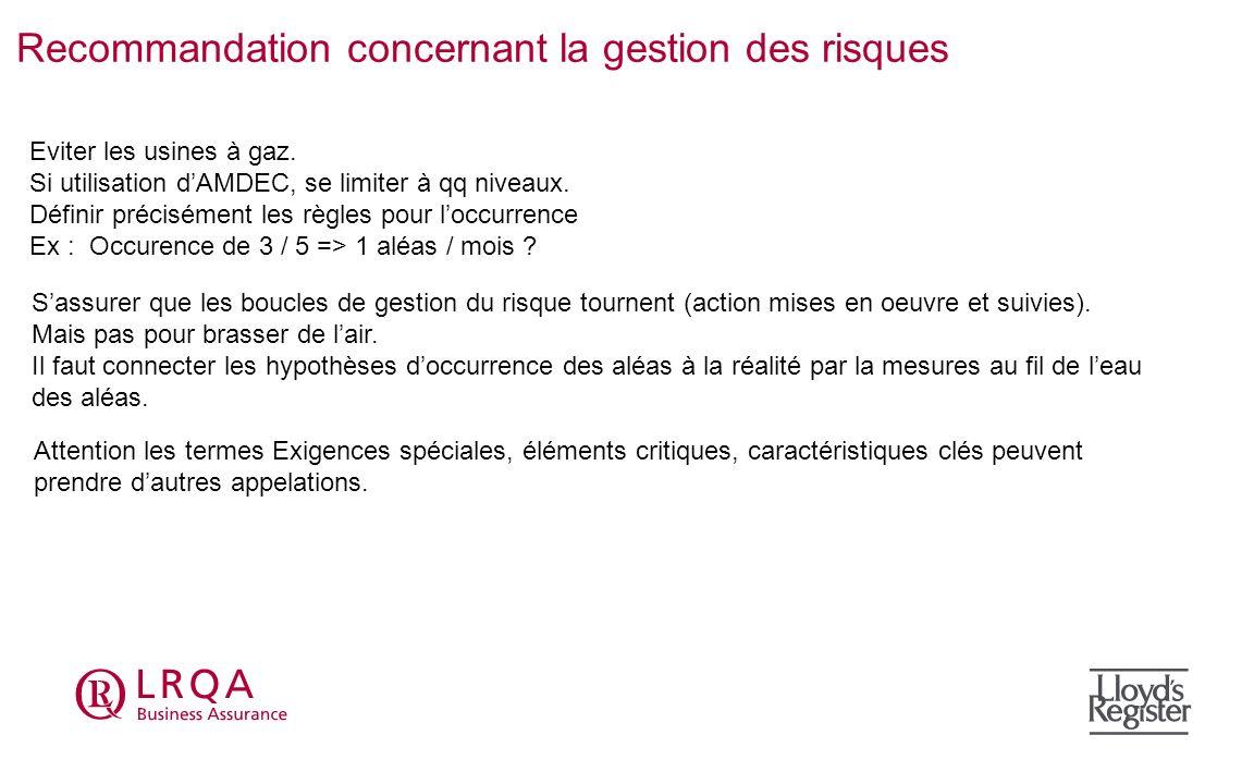 Recommandation concernant la gestion des risques Eviter les usines à gaz. Si utilisation dAMDEC, se limiter à qq niveaux. Définir précisément les règl