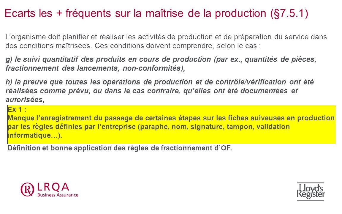Ecarts les + fréquents sur la maîtrise de la production (§7.5.1) Ex 1 : Manque lenregistrement du passage de certaines étapes sur les fiches suiveuses